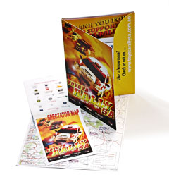 Information pack with maps, guides, inserts and postcards contained in a colour folder - click to enlarge
